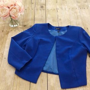 Boohoo Diana Crop Woven Jacket in Cobalt Medium